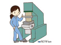 材料をプレス機にセットし、ボタンを押して加工する…