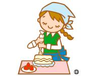 ケーキのトッピング作業